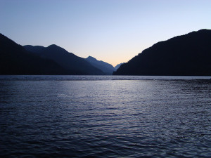 sunset on Muchalat Lake in gold river bc